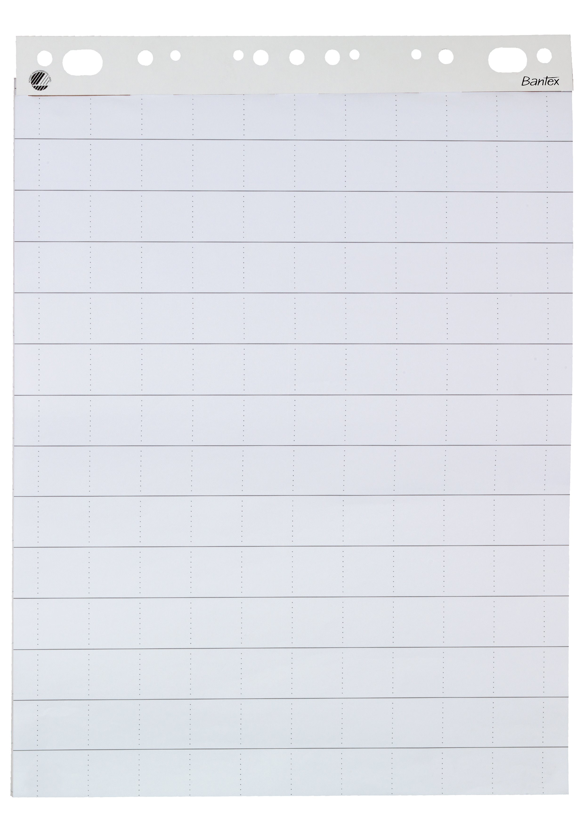 Bantex flipchart paper is designed for businesses requiring a flexible solution. The paper is squared on one side and plain on the other. The punched holes fit most flipchart stands on the market. The flipchart paper bears the Nordic Swan eco-label.