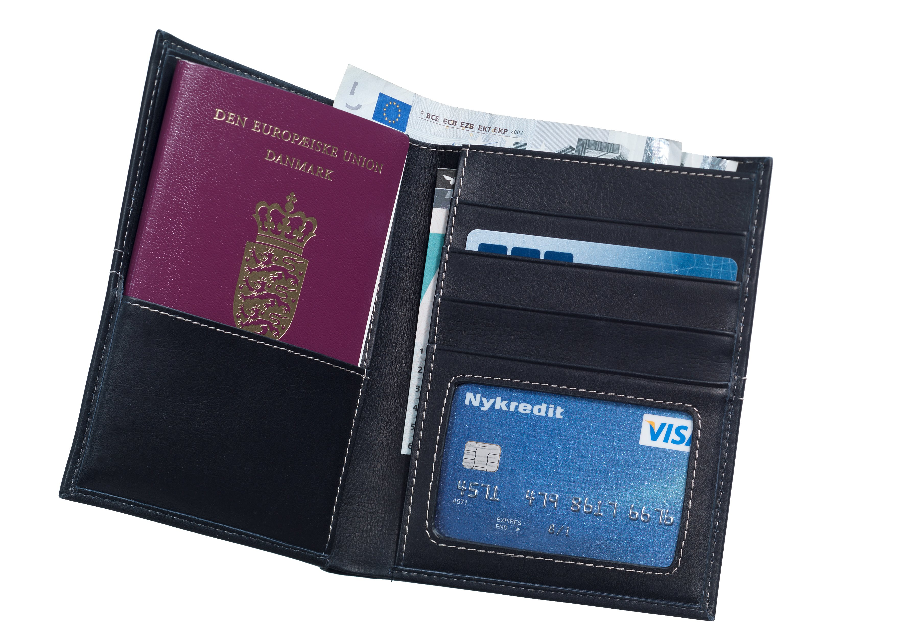 Passport holder in soft, black leather with white stitching. Contains a pocket for your passport and 4 pockets for credit cards and business cards. It also has 3 pockets for cash, receipts etc.
